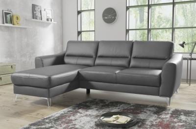 canapé d'angle convertible en cuir italien de luxe 5 places santorin, avec coffre, gris clair, angle gauche