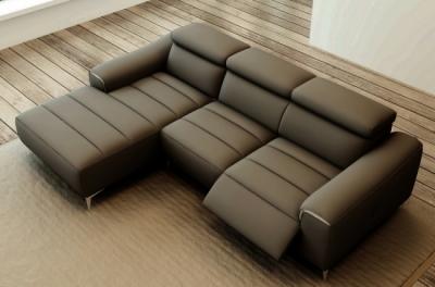 canapé d'angle fonction relax en cuir italien 5 places serenity, gris foncé, angle gauche