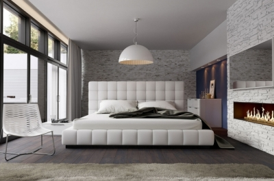 lit design en cuir italien de luxe silver, blanc, 160x200