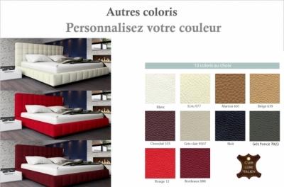lit design en cuir italien de luxe silver, couleur personnalisée, 180x200