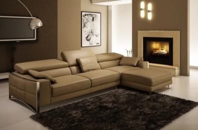 canapé d'angle en cuir italien haut de gamme 5 places suede, marron.