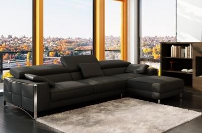 canapé d'angle en cuir italien 5 places suede, noir.