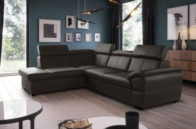 canapé d'angle convertible en cuir italien de luxe 5/6 places tony, avec coffre, chocolat, angle gauche