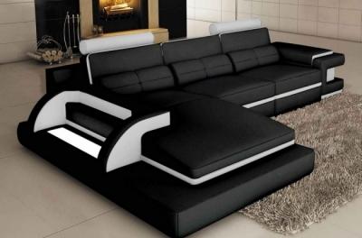 canapé d'angle en cuir italien 6 places vinoti, angle gauche, couleurs noir et blanc