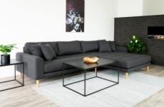 canapé d'angle en tissu matelassé de qualité lima coloris gris foncé, angle droit