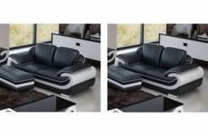 ensemble de 2 canapé 2 places en cuir italien vachette candide noir et blanc