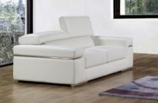 canapé 2 places en cuir italien alonso, blanc