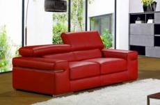 canapé 2 places en cuir italien alonso, rouge