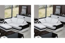 ensemble de 2 canapé 2 places en cuir italien vachette candide blanc et noir