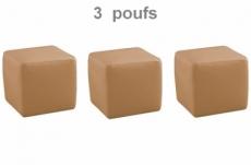 ensemble de 3 poufs carré en cuir, beige