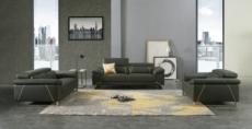 ensemble ensemble canapé 3 places et 2 places et fauteuil en cuir italien buffle granti, couleur gris foncé et liseret gris clair