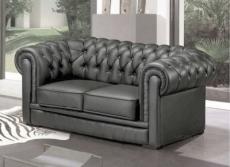 canapé 2 places en cuir italien chesterfield, gris foncé