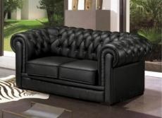 canapé 2 places en cuir italien chesterfield, noir