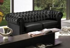 canapé 3 places en cuir italien chesterfield, noir