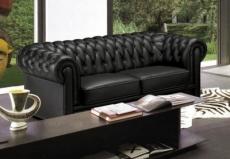 Canap 3 places en cuir mobilier priv for Canape chesterfield cuir noir