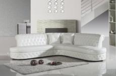 canapé d'angle en cuir italien 6 places cheston, blanc