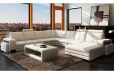 canapé d'angle en cuir italien 8 places diamant, blanc