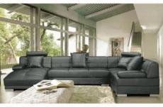 canapé d'angle en cuir italien 8 places napoli, gris foncé