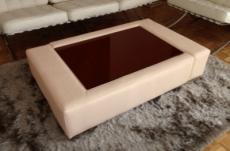 table basse en cuir italien zana, beige
