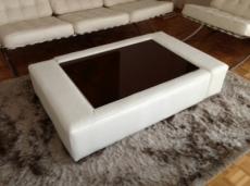 table basse en cuir italien zana, blanc