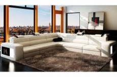 canapé d'angle en cuir italien 6/7 places divina, blanc / noir
