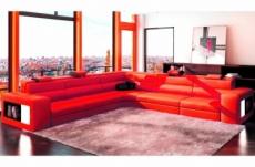 canapé d'angle en cuir italien 6/7 places divina, rouge / noir