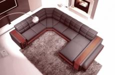 canapé d'angle en cuir italien 7/8 places evasion, chocolat / marron.