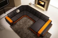 canapé d'angle en cuir italien 7/8 places evasion, noir / orange.