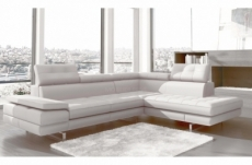 canapé d'angle en cuir italien 6 places moda, blanc