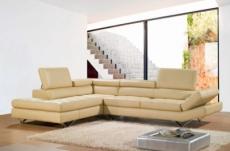 canapé d'angle en cuir italien 5/6 places lido, beige