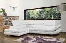 canapé d'angle en cuir italien 5/6 places lido, blanc