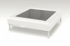 table basse en cuir italien paloma, blanc