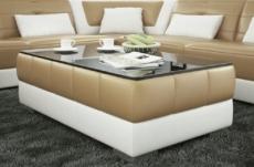 table basse design zeina, beige et blanc.