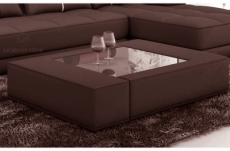 table basse en cuir italien zana, chocolat