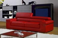 canapé 3 places en cuir italien alonso, rouge