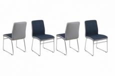lot de 4 chaises costi, avant bleu foncé et arrière gris clair
