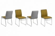 lot de 4 chaises costi, avant curry et arrière gris clair