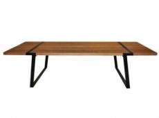 grande table à manger gigant de marque canett, modèle 240 cm de long. version: neutre, huilé, noir, peint chêne massif, chêne sauvage, fer, monochrome