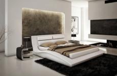lit en cuir italien de luxe serenis en stock , blanc 140x190