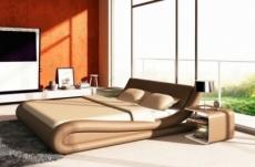 lit en cuir italien de luxe dream, beige