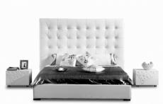 lit en cuir italien de luxe dodo, blanc, 160x200