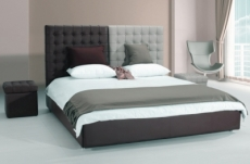 lit en cuir italien de luxe duo, chocolat et gris clair