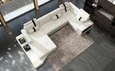 canapé d'angle en cuir italien 8 places venise, blanc/noir.