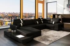 canapé d'angle en cuir italien 8 places venise, noir / blanc.