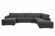 canapé d'angle en tissu de qualité 6/7 places, adelo, gris, angle droit, méridienne à gauche (vu de face)