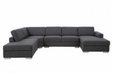 canapé d'angle en tissu de qualité 6/7 places -, adelo, gris, angle gauche, méridienne à droite (vu de face)