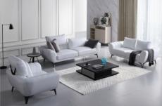 ensemble canapé 3 places et 2 places et fauteuil en cuir italien buffle alberto, couleur blanc