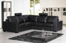 canapé d'angle cuir buffle italien 5 places , albi, couleur noir