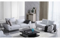 ensemble canapé 3 places et 2 places en cuir italien buffle alberto, couleur blanc