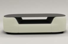 table basse design, plateau de verre foncé, alesia, écru